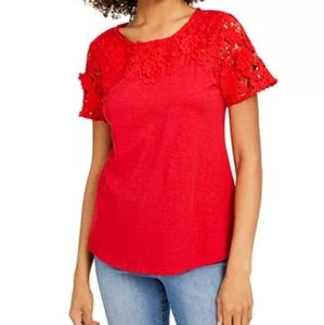 Crocheted Lace Sleeves and Neckline Beautiful